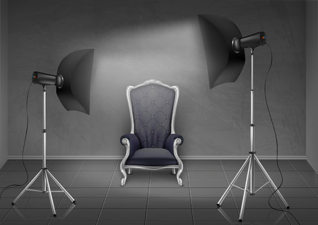 Illustration pour Vector realistic background, room with gray wall and floor, photo studio with empty armchair, lamps and softboxes on tripod stands. Mockup with modern lighting equipment for professional photography - image libre de droit