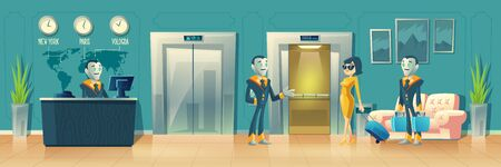 Ilustración de Vector cartoon background of hotel reception. Robot manager, receptionist with Artificial Intelligence behind the desk, guest with baggage at hall. Modern technology. Lobby, foyer with smart porters. - Imagen libre de derechos