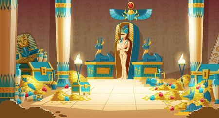 Ilustración de Vector Egyptian tomb - pharaoh sarcophagus with mummy, treasure and other symbols of culture. Cartoon background of ancient pyramid with gold. Anubis, Bastet sculptures, hieroglyphs and scarab. - Imagen libre de derechos