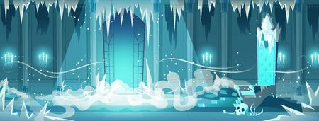 Illustration pour Frozen throne room or ballroom in snow queen, necromancer castle cartoon vector with fog spreading in room covered with ice and snow, human skull lying near evil witch or sorcerer throne illustration - image libre de droit