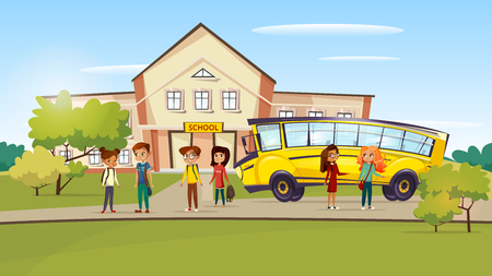 Illustration for Vector cartoon teen kids pupil standing near school bus after lessons. - Royalty Free Image
