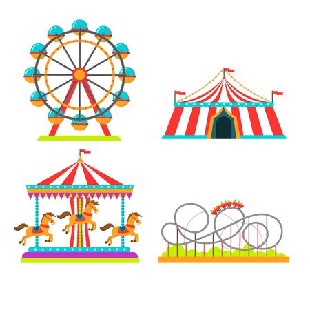 Ilustración de Amusement park attractions rides vector illustration. Circus tent, merry-go-round horseabout carousel and observation wheel, roller coaster or Russian mountains amusement rides flat isolated icons set - Imagen libre de derechos