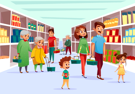 Illustration pour People in supermarket vector illustration. Flat cartoon design of family mother, father and children or old women in supermarket with shopping baskets and carts at grocery shop product shelf - image libre de droit