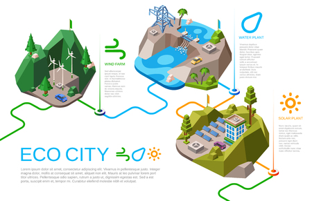 Illustration pour Eco city vector illustration isometric natural energy sources for urban life. Cartoon city landscape with renewable energy supply from nature, solar battery panels, wind and water hydroelectric power - image libre de droit