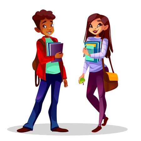 Illustration for College or university students vector illustration. Black Afro American boy and Asian girl with school bags and education books in hands for different nationalities study - Royalty Free Image