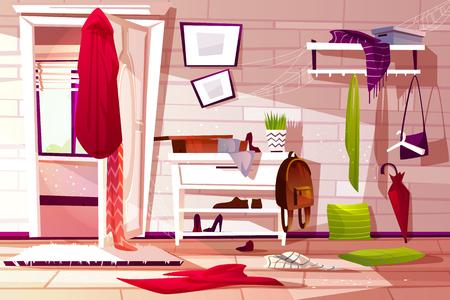 Ilustración de Hallway room messy interior vector illustration of retro apartment corridor or store entrance clutter. Cartoon wardrobe with store compartments and clothing scattered on floor and dusty web on shelf - Imagen libre de derechos