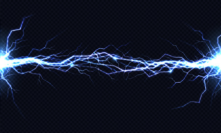Ilustración de Powerful electrical discharge hitting from side to side realistic vector illustration isolated on black transparent background. Blazing lightning strike in darkness. Electric energy flash light effect - Imagen libre de derechos