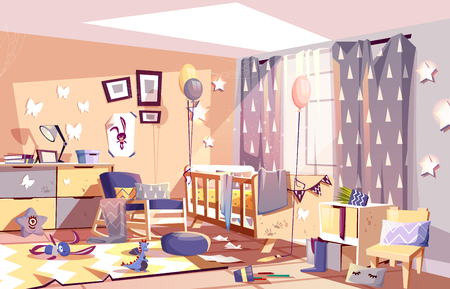 Ilustración de Little child messy room interior with scattered toys and traces of dirty palms on furniture cartoon vector illustration. Chaos in kids bedroom after birthday celebration party. Hyperactive children - Imagen libre de derechos