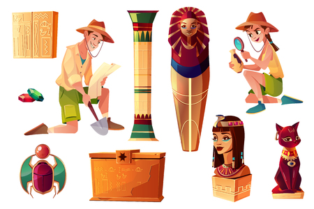 Illustrazione per Vector Egyptian cartoon set - paleontologist and archeologist characters, pharaoh sarcophagus and symbols of culture. Collection of tomb, objects on background.Bastet sculpture, hieroglyphs and scarab - Immagini Royalty Free