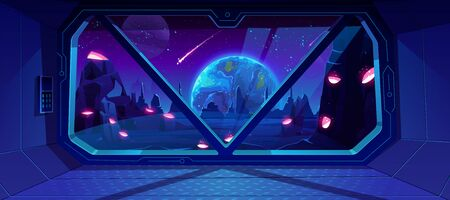 Illustration pour Spaceship view on Earth at night from alien planet with craters, neon space background with falling meteor in dark starry sky, fantasy landscape through shuttle window. Cartoon vector illustration - image libre de droit
