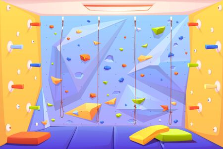 Illustration pour Rock climbing wall with grips, mats and ropes for bouldering activity in gym or recreation area for scaling in amusement park or kids playground. Alpinism training place. Cartoon vector illustration - image libre de droit