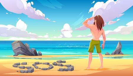 Illustration for Castaway man on uninhabited island, lonely stranded longhaired character stand on seaside looking into distance on ocean with sos sign made of stones lying on sandy beach. Cartoon vector illustration - Royalty Free Image