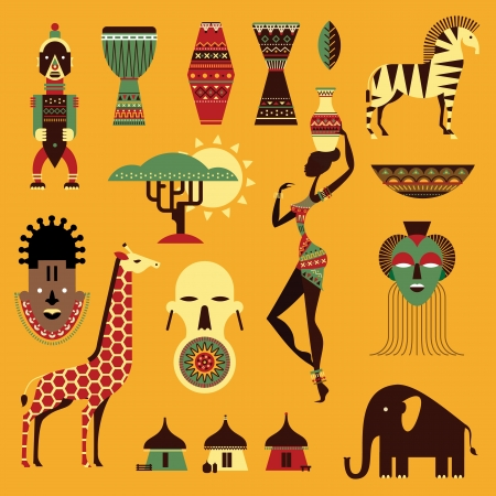 Illustration for set of stylized african icons - Royalty Free Image