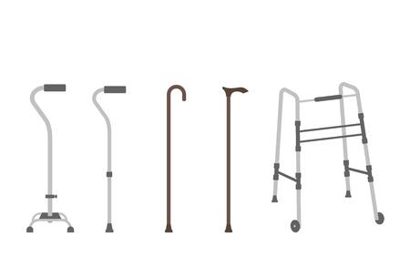 Ilustración de Set of outlined walking sticks for seniors - Imagen libre de derechos