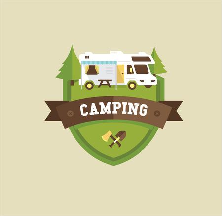 Illustration pour RV camping resort partk flat style illustration - image libre de droit