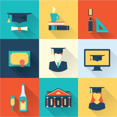 Illustration pour graduation icons - image libre de droit