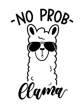 Illustration for No probllama card isolated on white background. Simple white llama with sunglasses and lettering. Motivational poster for prints, cases, textile or greeting cards. Vector illustration. - Royalty Free Image