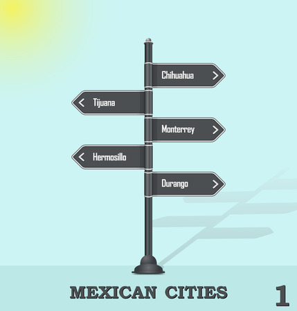 Illustration pour Road sign post - Mexican cities 1 - image libre de droit