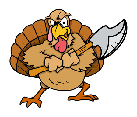 Illustrazione per Angry Turkey Bird with Dagger - Immagini Royalty Free