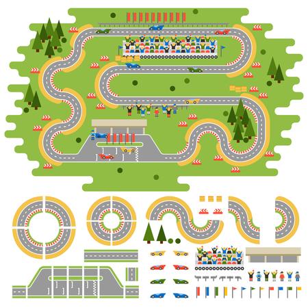 Illustration pour Race track curve road vector, car sport track. Top view of car sport track. Sport car track constructor, road symbols - image libre de droit