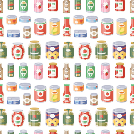 Illustration for Collection of various tins canned goods food metal container product seamless pattern vector illustration. - Royalty Free Image