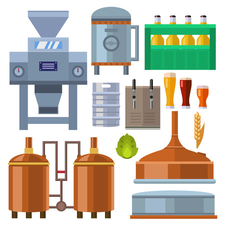Illustration for Beer brewing process alcohol factory production equipment mashing boiling cooling fermentation vector illustration. - Royalty Free Image