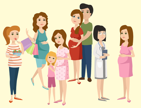 Ilustración de Pregnancy motherhood people expectation concept happy pregnant woman character life with big belly vector illustration - Imagen libre de derechos