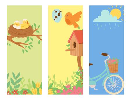 Illustration pour Spring natural floral blossom banner gardening tools beauty design. - image libre de droit