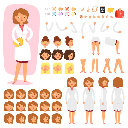 Ilustración de Doctor constructor vector creation of female medical character head and face emotions illustration set of hospital person body with hands legs construction isolated on white background - Imagen libre de derechos