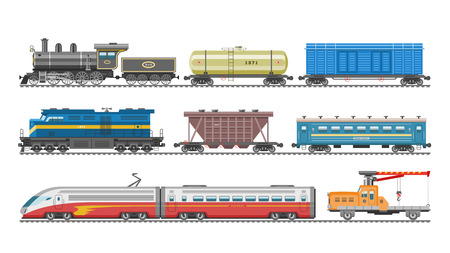Illustration pour Train vector railway transport locomotive or wagon and subway or metro transportation illustration set of transportable vehicle or carriage on railroad station isolated on white background - image libre de droit