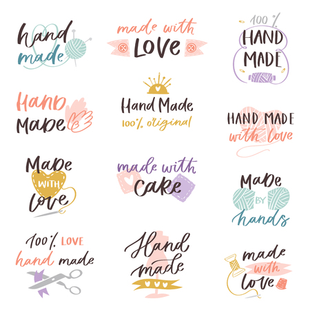 Illustration for Handmade craft label typography and handicraft calligraphy - Royalty Free Image
