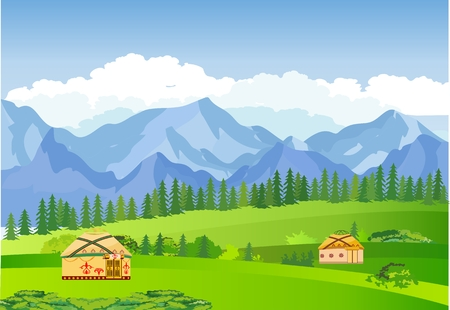 Ilustración de Kazakhstan countryside, farm, village, flowers, green hills and mountains, blue clouds, forest. Cartoon style, vector illustration - Imagen libre de derechos