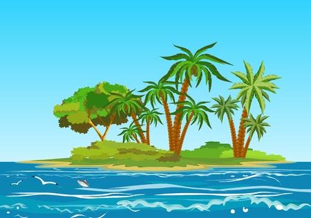 Ilustración de Tropical island in ocean, ocean landscape, vector illustration - Imagen libre de derechos