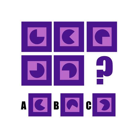 Illustration pour IQ test. Choose correct answer. Logical task, educational game for kids. development of logic, iq. Task game what comes next, Vector illustration - image libre de droit