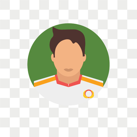 Soccer player vector icon isolated on transparent background, Soccer player logo concept