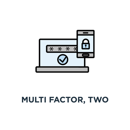 Ilustración de multi factor, two steps authentication, online access control icon, symbol of mobile phone with lock, password and authorization code to secure user data, linear concept - Imagen libre de derechos