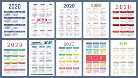 Illustration pour Calendar 2020. Colorful set. Week starts on Sunday. Basic grid. English vector calender collection for print. New year. Color simple design - image libre de droit