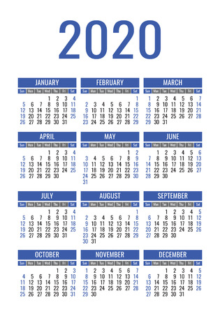 Illustration for Calendar 2020 year. Vector design template. English vertical pocket calender. Week starts on Sunday - Royalty Free Image