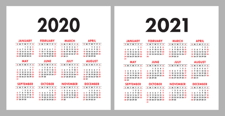Illustration pour Calendar 2020, 2021. Square vector calender design template. English colorful set. Week starts on Sunday. New year - image libre de droit