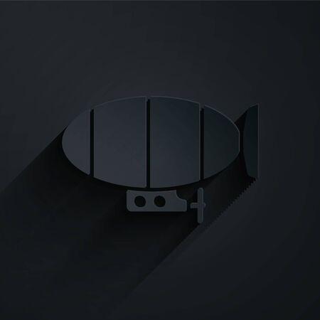 Illustration pour Paper cut Airship icon isolated on black background. Paper art style. Vector Illustration - image libre de droit