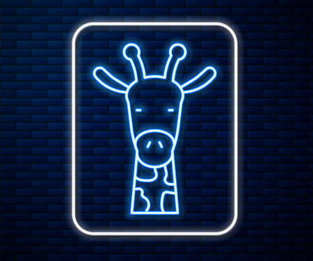 Glowing neon line Giraffe head icon isolated on brick wall background. Animal symbol. Vector