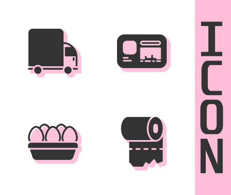 Set Toilet paper roll, Delivery cargo truck, Chicken egg in box and Identification badge icon. Vector