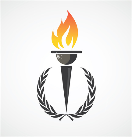 Illustration for Flaming torch in laurel wreath for sports design - Royalty Free Image