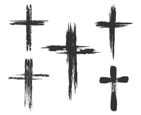 Illustration pour Hand drawn christian cross signs. Brush painted cross icons. Vector illustration - image libre de droit