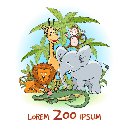 Zoo Cartoon animals. Animals with trees and zoo text. Vector illustration