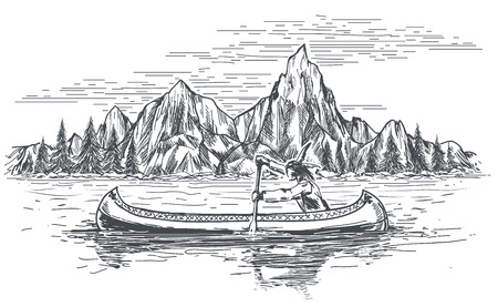 Illustration for Native american rowing indian in canoe boat on mountain landscape. - Royalty Free Image