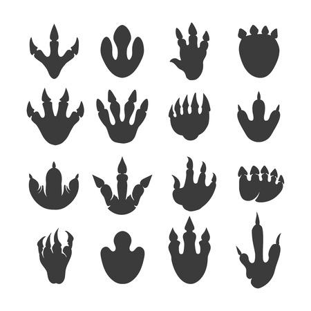 Ilustración de Vector reptile footprints. Dinosaur tracks vector black icons - Imagen libre de derechos