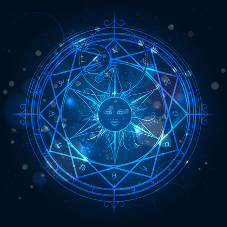 Illustration pour Alchemy magic circle on shining blue background. Vector illustration - image libre de droit