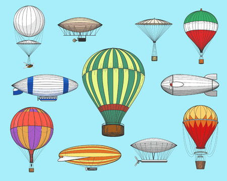 Illustration pour Vintage flights airships. Vector retro dirigibles and hot air balloons isolated on blue background - image libre de droit