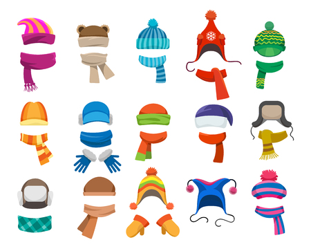 Illustration for Winter or autumn headwear collection. Vector knitting hats, caps and scarfs for girls and boys for cold weather isolated on white background - Royalty Free Image